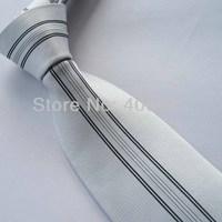Yibei Coachella Mens Ties Silver With Black Stripe Jacquard Woven Necktie Fashion Gravata Formal Neck tie For Men dress Party