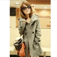 Free shipping 2013 autumn and winter women loose woolen overcoat casual medium-long slim woolen outerwear