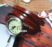 New arrivals Luxurious Cowhide braided leather watch band wrist watch 6 Rings with