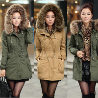 Winter lady detachable big fur Hooded Coat,army green faux wool lining trench coat jacket for women  NTZH257