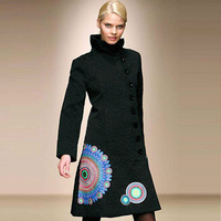 2013 New listing !Desigual Women's Fashion long style black print Polka Dot  Coat free shipping !