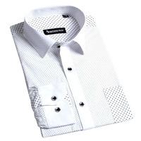 100% Cotton Free Shipping BOZE Fashion Polka Dot slim fit Shirts dress shirt  Long Sleeve white collar size xxxl YH07