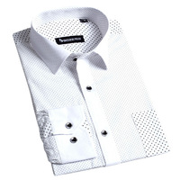Free Shipping BOZE Fashion Polka Dot Slim-type Long Sleeve Shirts For MEN/Stylish Business Shirt 100% Cotton Big Size S-4XL