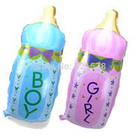 New 10 pcs/ lot big size 82x44cm it's a boy/girl milk bottle foil balloons for newborn birthday party balloon helium