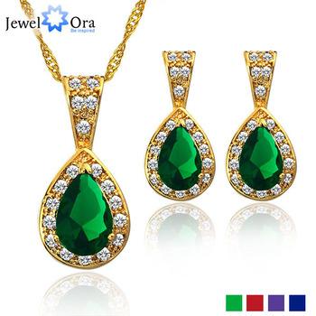 Cubic Zircon Wedding Jewelry Sets For Women JewelOra #JS100336 Flower 18K Lady Necklace ...