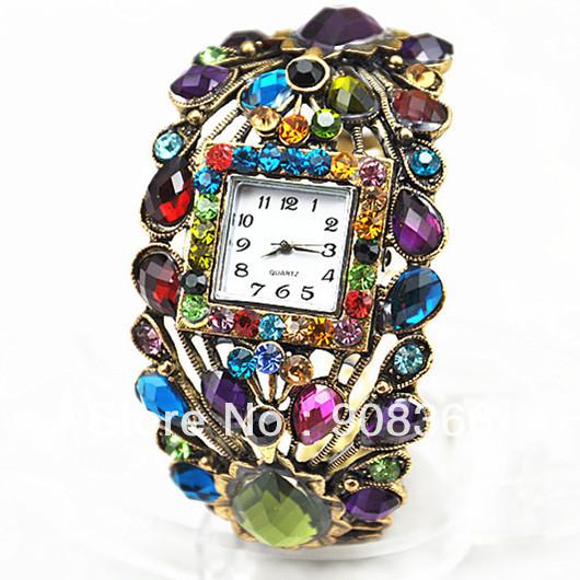 صور مجوهرات الطاوس JW007-Fashion-Vintage-font-b-Peacock-b-font-Style-Retro-colored-stones-bronze-Wrist-Watch-Women