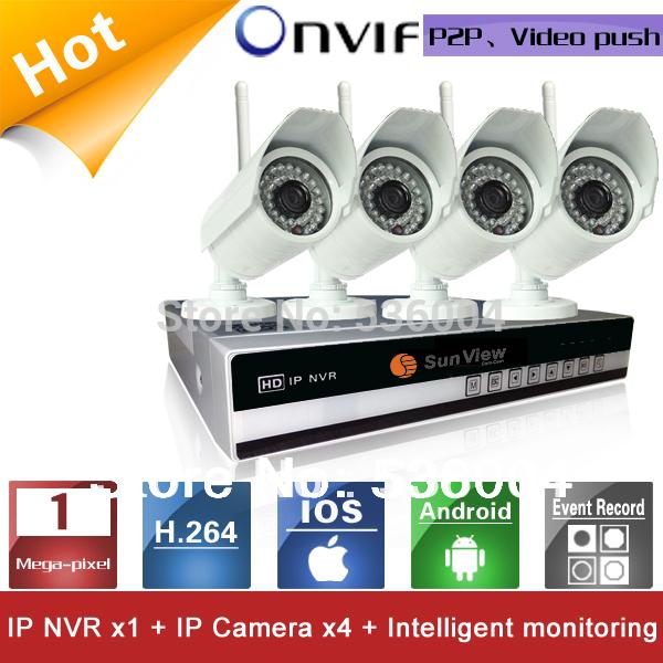 4 Channels NVR KIT 720P 1.0mp Wireless wifi IP Camera P2P Home alarm video push motion sensor CCTV Security Surveillance system(China (Mainland))