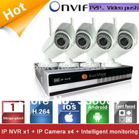 4 Channels NVR KIT 720P 1.0mp Wireless wifi IP Camera P2P Home alarm video push motion sensor CCTV Security Surveillance system