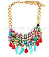 Freeshopping 2013 fashion Shourouk statement necklace Exaggerated Luxurious Rainbow color Crystal Flower choker Necklace