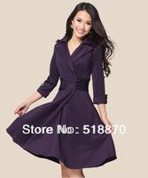 Женское платье 2013 Fashion Women Dress Normic One-piece Dresses Autumn and Winter Jacket Warm Coat PU Patchwork Thin Skirt Long-sleeve Woolen