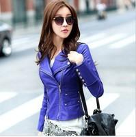 leather jacket women , Fashion Slim Short Original design Blue motorcycle jacket  , Specials !