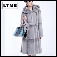 LTMB4140  Hot sell women rex rabbit fur coat extral long style turn down collar full sleeve female fur coat with belt hood 2014