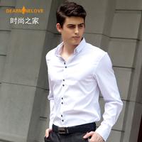 business men dress shirt mens long sleeve  shirts collar  Slim tide 2013 autumn designer brand purple white black gray xs s XXL