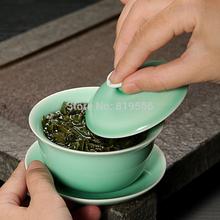 New 2013 145ml Celadon Gaiwan 9cm*8cm Dehua Bone China Ceramic Gongfu Tea Set Service Ware Wholesale Free Shipping