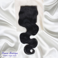 "Cheapest virgin brazilian hair lace top closures 4x4""swiss lace closure bleached knots body wave hair ,Free shipping"