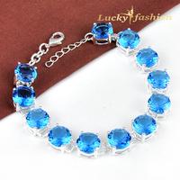 Fashion Austria Crystal Shiny Elegance Bracelet Blue Topaz Charm Bracelet