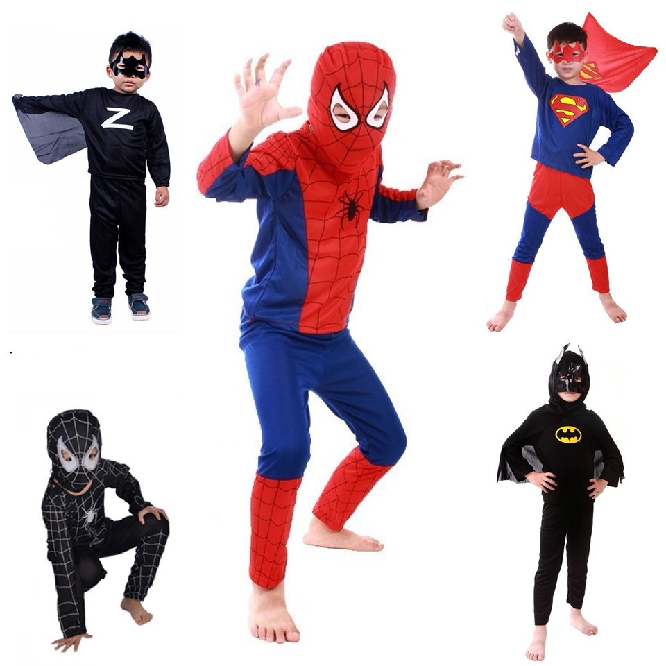 Free Shipping Children Batman Spiderman Superman Costumes For Kids Zentai Superhero Suits Cosplay Clothes For Boys(China (Mainland))