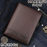 free shipping Harrms Male short design genuine leather Men men's cowhide wallet
