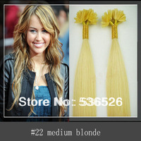 "Peruvian virgin hair 100g 100pieces/LOT 12""14""16'18'20""22'24' Nail tip remy human hair extension  #22 Medium Blonde color"