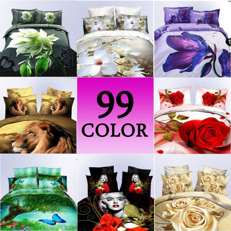 3d oil painting bedding sets cotton printed bedclothes king queen bed linens sheet sets,Duvet cover sets bed set&Animal&Plant(China (Mainland))