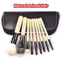 Professional 9 PCS Cosmetics Makeup Brushes Set with Black Zipper Leather Bag, Brand Make Up Brushes, Free Shipping, Wholesales