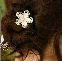 Korean bijoux fashion jewelry Phnom penh Drill Faceted crystal flower hairpins Freeshipping/Wholesale HL02806