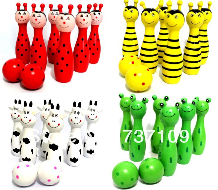 The Wooden Bowling with Animal Design Learning System Family Game Education&Learning Toys Kids Toy(China (Mainland))