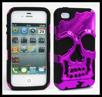novelty cool Plastic Skull Silicone Dual layer 3D Hybrid For iphone4 4S 5 5S Back Cover Mobile Phone Case10pcs/lot