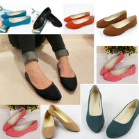 PO058  Promotion Womens Ladies Round Toe Comfy Flats Loafers Slip On Shoes Casual Slippers Solid 9 Colors Black Ballerina