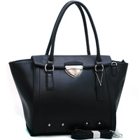 High Quality Designer Inspired Women Leather Handbags Totes Bag Chic Wide Buckle Fashion Shoulder Bag with Bonus Strap