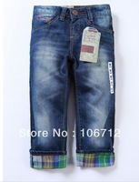 Retail 2013 hot sale 1piece spring and summer children 's jeans baby blue jeans girls pants soft trousers boys jeans