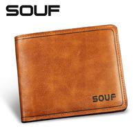 Souf male genuine leather short wallet design casual soft wallet men's cowhide clip card holder