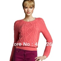 2013 HOT SALE Women's Spring Autumn Long Sleeve O-neck European Fashion Knitted Pullovers Sweater 0239