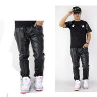 2014 fashion HOT pants men Star gold side zipper leather pants hiphiop Men PU pants mens