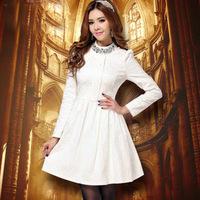 NEW 2014 autumn summer winter women elegant organza office dress ladies slim turtleneck novelty dress XL career dress bodi lace