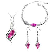 Wholesale 2014 new fashion austrian crystal water drop wisp necklace+bracelet+earrings fashion Jewelry Sets A0053