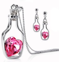 Wholesale 18K white gold plated adrift - bottle austria crystal women fashion earrings/necklace Jewelry Sets