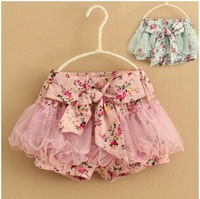 Retail 2014 New Korean style children's summer cotton+mesh pastoral style shorts baby girls flower bow shorts free shipping