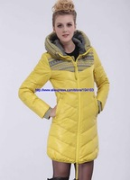 Women's Winter Jacket Fashion Luxury Outerwear Medium-long Thickening Female Down Coat 2013 New Yellow Color