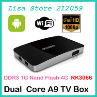 5pcs Smart Multimedia Player Android 4.1.1 RK3066 Dual core ARM Cortex-A9 Mali 400 Quad-Core DDR3 1GB 4GB Nand Flash 4*USB