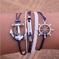 Fashion Vintage Punk Anchors Rudder Rectangle Courage Letter Multilayer Leather Bracelet Jewelry For Women 2014 PT36