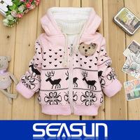 Retail 2014 New children coat baby girls winter jacket cartoon deer lambs wool lining outerwear baby hoodies outerwear coat