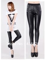 Front Imitation Leather and Back Blackmilk Patchwork Leggings Cheap Fashion Women 2013 Autumn Winter