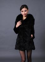 Large fox fur rabbit fur coat medium-long women's fur natural fur coat free shipping
