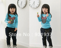 100%cotton girl baby long-sleeve t shirt children's clothing shirt autumn2014kid's clothes2T,3T,4T,5T,6T,7T,8Tfree shipping