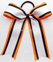 "6"" Basic 3 Layer Cheer Bow Clips/ Cheerleading- Orange/Black/White-12pcs"