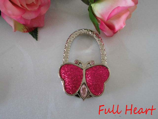 Min/Mixed Order $50, Free Shipping bag hanger/purse holder/ purse hanger/foldable purse hook/purse holder with butterfly charm(China (Mainland))