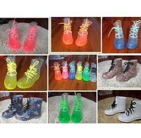 2013 PVC Transparent Womens Colorful Crystal Clear Flats Heels Water Shoes Female Rainboot Martin Rain Boots