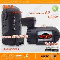 Ambarella A7/A2 Mini Car DVR Recorder 0803 with 1296P/Full HD + AR0330 + Optional GPS / 8GB for Backup