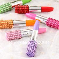 Wholesale mini order $10(mix order)free shipping creative promotion novelty Pen, brick clad gloss lipstick style ballpoint pen